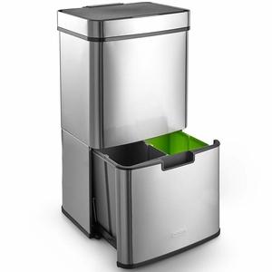VonHaus Abfalleimer mit 3 Fächern | Mülltrennung mit Abfallguru