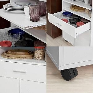 SoBuy® FSB09-W Küchenschrank Küchenwagen Rollschrank Getränkewagen Mülltrennung Abfallguru Küchenwagen mit Mülleimer
