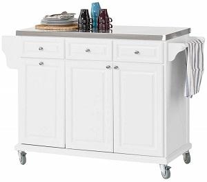 Küchenwagen mit Edelstahlplatte FKW33-W von SoBuy® | Mülltrennung mit Abfallguru
